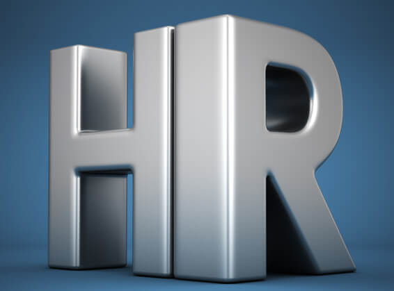 Big metal letters HR on blue background. Human resources department